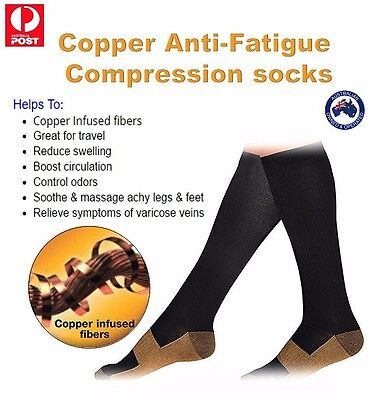 Genuine Compression socks Copper Anti-Fatigue. Large To EXtra Large Unisex