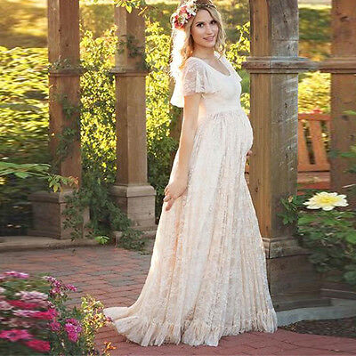 M Hot Pregnant Lace Long Maxi Gown Photography Photo Shoot Fancy Maternity Dress