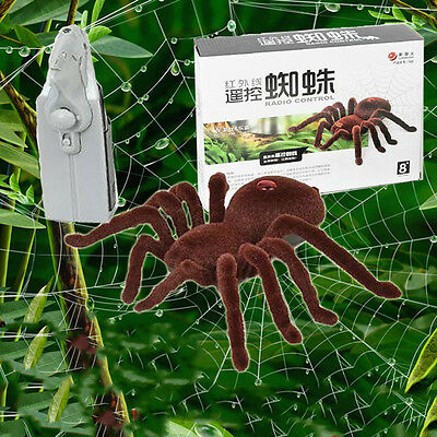 New Terror Remote Control Scary Soft Plush Spider RC Tarantula Toy Kid Gift