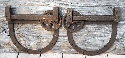 Pair Large Vintage Antique Horseshoe Barn Door Rollers Hangers
