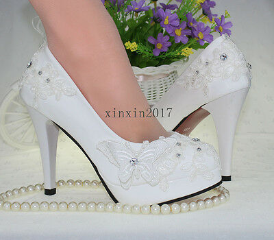 """3"""" 4 """" heel white ivory lace crystal pearls Wedding shoes pumps bride size 5-11"""