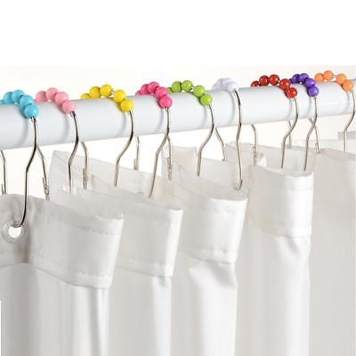 12 Piece Shower Curtain Rings Rail Pole Rod Bathroom Ball Bead Hook Colorful