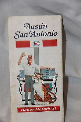 1971 ENCO HUMBLE OIL Road Map TEXAS San Antonio / Austin  Happy Motoring