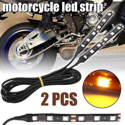 "2x 4""Motorcycle Flexible Strip Blinker Flasher Front Rear Turn Signal 6LED Amber"