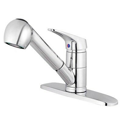 Pull-Out Polished Chrome Kitchen Sink Faucet Spray Swivel One Handle Mixer Tap