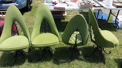 VINTAGE MID CENTURY WROUGHT IRON SET OF 4 GREEN CHAIRS by ANTARENNI