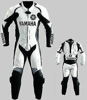 Yamaha Motorbike Leather White Racing New Suit Ce Approved Protection All Sizes