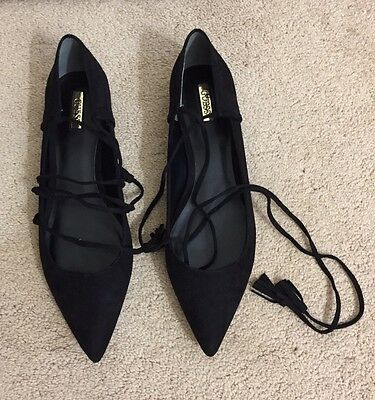 New Guess Women Faux Suede Lace-Up Flats Size 10
