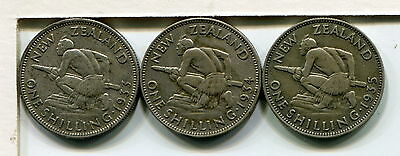 New Zealand, 1933 1934 And 1935 Silver Shillings (3 Coins)