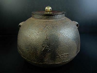 F3413:Japanese Iron rough surface Shapely TEAKETTLE Teapot Chagama w/copper lid