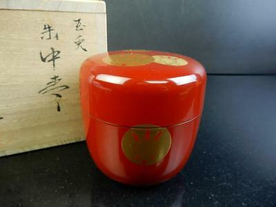 F3268: Japanese Wooden Lacquer ware TEA CADDY Chaire Container, Gaiki made