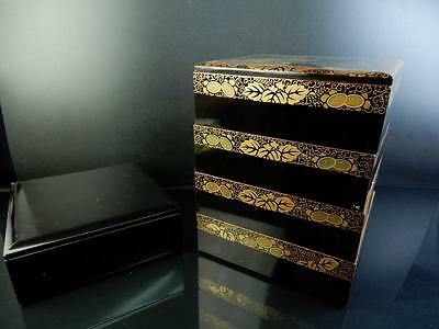 F4643: Japanese XF Wooden Lacquer ware FOOD BOXES Jubako Lunch Box