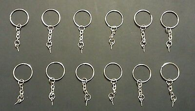 12 - Split Metal Key Rings With Chain, Loop and Screw! Multiple Purpose Uses!