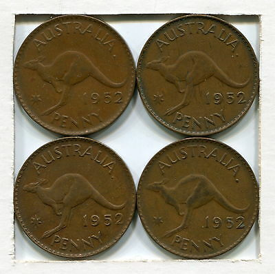 1952A Penny Varieties With Different Designs Of 2 In Date (4 Coins)