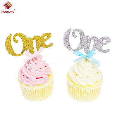 6/12Pcs ONE 1st First Birthday Glitter Cupcake Toppers Boy Girl Pink Blue Pretty