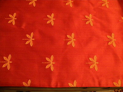 Vintage Long Spice Colored Silk Runner/Panel with Lots of Dragonflies~So Pretty