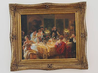 European Art School/Antique French Style The Dinner Party Oil On Canvas Framed