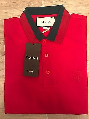Authentic GUCCI Red Cotton Polo GG signature Collar Men's Shirt Size L