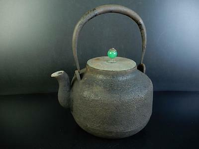 C4155:Japanese Old Iron Orange peel BIG TEA KETTLE Teapot Tetsubin w/copper lid