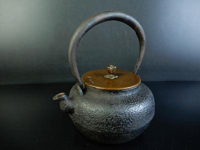C4152:Japanese Old Iron TEA KETTLE Teapot Tetsubin w/copper lid,Ryubun-do made
