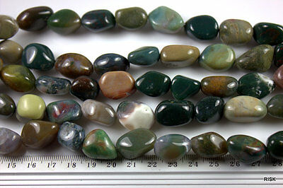 GR052 - Natural Quality Indian Agate Nugget Gemstone Beads - x10 pce - 46g