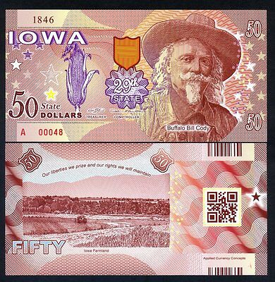 USA States, Iowa, $50, Polymer, ND (2017), UNC - Buffalo Bill Cody