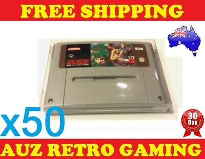 50x Thick GAME CART CARTRIDGE PROTECTORS Cases For SNES Super Nintendo Games