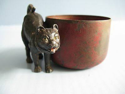 Antique cold Painted metal cat / container