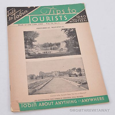 1952 MONTREAL CANADA Tips to Tourists Booklet TALK TO TOBIN