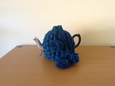 RETRO TEAPOT with  BLUE / GREEN KNITTED COSY