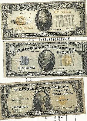 Gold Note Frame,1928-$20, 1934-A $10, 1935-A $1, In fair condition, average circ