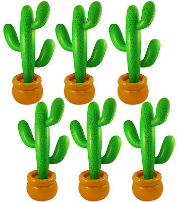 Pack Of 6 Jumbo 86 Cm Inflatable Cactus Mexican Scene Setter Party Decoration