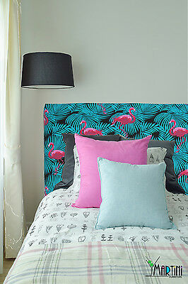 *SALE* Upholstered Bedhead, Single Size, Bright, Pink, Teal, Flamingo, Tropical