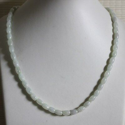 100% Natural (Grade A) Untreated Icy White Jadeite JADE Beads Necklace #N166