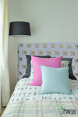 *SALE* Upholstered Bedhead, Single Size, Cats, Gold White, Fabric Headboard