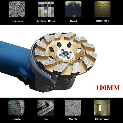 "100mm 4"" inch Diamond Sintered Segment Grinding Grinder Cup Wheel Disc 2 Rows"