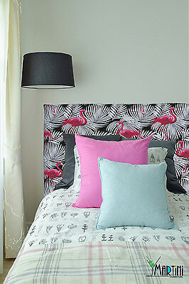 *SALE* Upholstered Bedhead, Single Size, Black & White, Pink Flamingo, Tropical