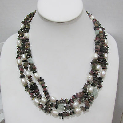 CGI CN 925 Sterling Silver QVC/HSN Vintage Pearl Tourmaline 3 Strand Necklace