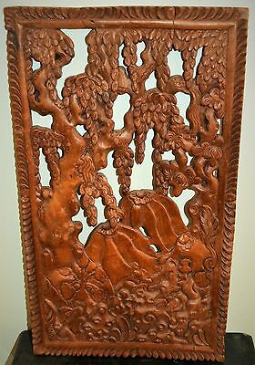 Antique Chinese hand carved wooden panel tree of life
