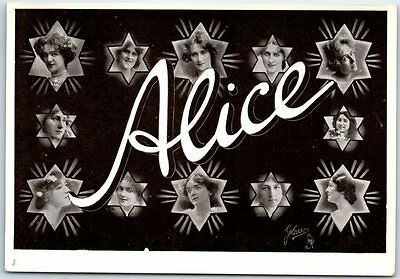 """ALICE"" Vintage Large Letter Name RPPC Postcard Girls' Faces c1910s TUCK'S"