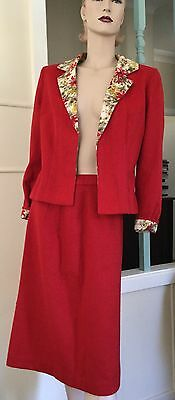 Vtg 50s Bombshell red wool suit ONE OFF!