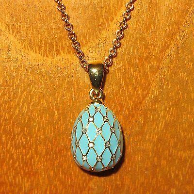 Russian FABERGE inspired ENAMEL Swarovsky Crystals Light BLUE EGG pendant chain