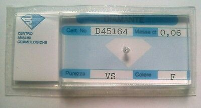 Diamante naturale certificato in blister ct. 0.06 F VS
