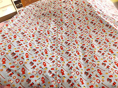 Brand New Home Crafted Blue Fireman Cot Quilt/comforter