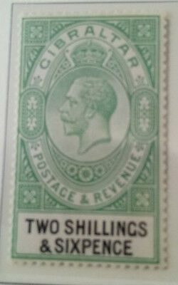 Gibraltar stamps SG 104. Two shillings & six pence. 2/6. green & black mntd mint