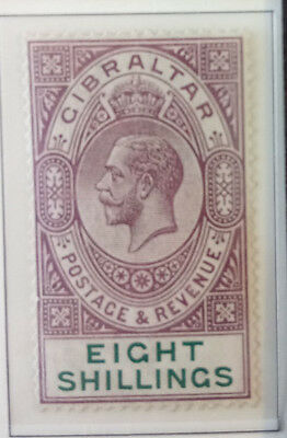 Gibraltar stamps SG84 Eight shillings 8/-. Mounted mint dull purple and green.