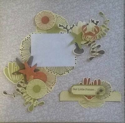 """12"""" X 12"""" Handmade Layout Pre-made Scrapbook Page - Our little fishies"""