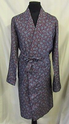 Paisley Vintage Dressing Gown Robe Large XL Brown Blue Rare Nightwear Soft VGC