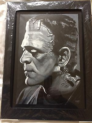 Frankenstein/ Boris Karloff! Original Hand painted on canvas &mounted & frame!