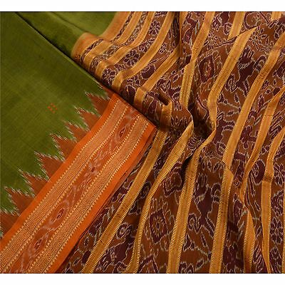 Sanskriti Vintage Indian Saree Woven Patola Sari Fabric Pure Silk Soft Green